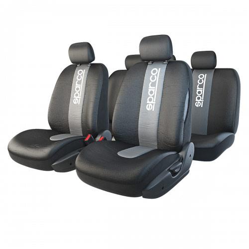 Чехлы автомобильные Sparco Racing, универсальные, цвет: черный, серый, 11 предметов, размер МSPC/RCN-1105 BK/GYАвтомобильные чехлы Sparco Racing не только сберегут кресла от износа и загрязнений, но и придадут интерьеру автомобиля эксклюзивные спортивные черты. Лаконичный дизайн изделий дополнен объемными центральными вставками с вертикальным логотипом Sparco.Чехлы изготовлены из прочного полиэстера, триплированного 10-миллиметровым поролоном. Окраска ткани обладает повышенной устойчивостью к выгоранию на солнце и механическому воздействию. Допускается только ручная стирка.Универсальный крой и распускаемые боковые швы позволяют использовать изделия на большинстве автокресел, в том числе оснащенных боковыми подушками безопасности. На сиденья чехлы крепятся при помощи пришитых резинок. Комплектация:- 1 сиденье заднего ряда, - 1 спинка заднего ряда, - 2 сиденья переднего ряда, - 2 спинки переднего ряда, - 5 подголовников.Использование с боковыми airbag. Толщина поролона: 10 мм.