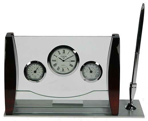 Настольный набор Viron, 24 х 13 х 6 см. 2825028250Настольный набор Viron с часами, барометром и гигрометром принесет элегантность в ваш кабинет. Материал: стекло, дерево, металл (алюминий, латунь). Продукция немецкой компании Viron известна во всем мире. Это красивые, оригинальные аксессуары и предметы обихода, которые выделяются лаконичностью форм, многофункциональностью, практичностью, непревзойденным немецким качеством и утонченным стилем.