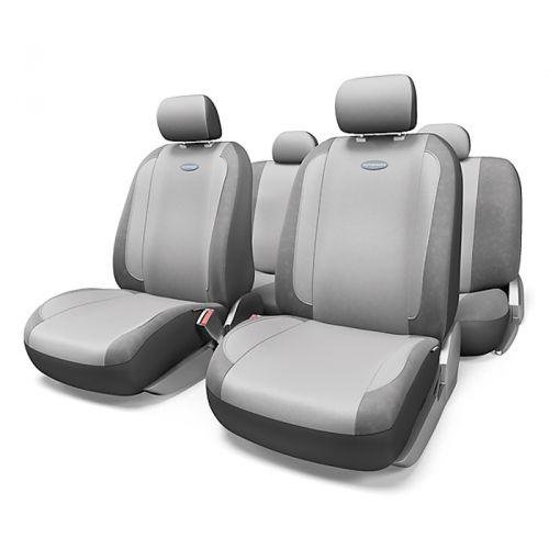 Набор авточехлов Autoprofi Generation, велюр, цвет: темно-серый, светло-серый, 11 предметов. Размер MGEN-1105 D.GY/L.GY (M)Плавные очертания, спокойный дизайн и приятные тона чехлов Generation передают водителю и пассажирам ощущения домашнего уюта и тепла. Удобство чехлам добавляют два объемных кармана, расположенных в спинках передних сидений.Ворсистый велюр чехлов, триплированный поролоном, делает их на ощупь мягкими и бархатистыми. Материал не выцветает на солнце, не электризуется и обладает высокими грязеотталкивающими свойствами. Основные особенности авточехлов Generation:- 3 молнии в спинке заднего ряда; - карманы в спинках передних сидений;- толщина поролона: 5 мм.Комплектация: - 1 сиденье заднего ряда; - 1 спинка заднего ряда; - 2 сиденья переднего ряда; - 2 спинки переднего ряда; - 5 подголовников; - набор фиксирующих крючков.