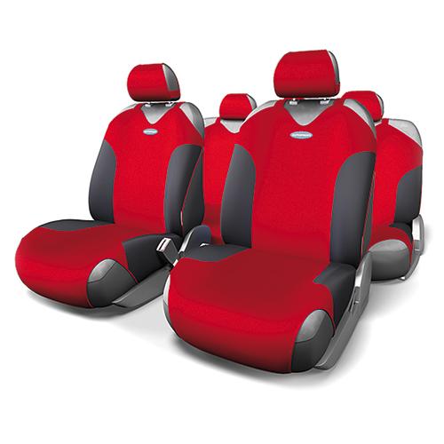 Чехлы-майки Autoprofi Formula, полиэстер, цвет: черный, красный, 9 предметов. FOR-802 BK/RDFOR-802 BK/RDАвтомобильные чехлы-майки Autoprofi Formula, изготовленные из полиэстера, выполнены в спортивном стиле, придающем салону яркие и динамичные черты. Красная строчка подчеркивает изгибы кресел в местах боковой поддержки, визуально делая сиденья более объемными. Наполнитель - поролон.По форме чехлы напоминают майку. Благодаря этому они легко и быстро надеваются на кресла, не требуя демонтажа подголовников или подлокотников. Эластичный материал позволяет использовать чехлы на любых типах сидений.Комплектация: - 1 сиденье заднего ряда, - 1 спинка заднего ряда, - 2 чехла переднего ряда, - 5 подголовников, - набор фиксирующих крючков.Особенности:Использование с любыми типами сиденийТолщина поролона - 2 мм
