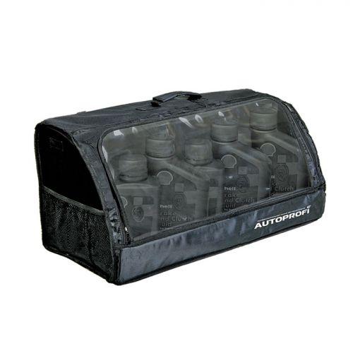 Сумка-органайзер в багажник Autoprofi Travel, брезентовая, цвет: черный. ORG-35 BKORG-35 BKСумка-органайзер в багажник Autoprofi Travel изготовлена из огнеупорного водостойкого брезента. Он устойчив к механическим повреждениям и легко чистится. Натуральные материалы изделия не линяют и химически не активны, поэтому в сумке можно перевозить продукты и даже домашних животных. Органайзер предназначен для хранения и транспортировки в багажнике автомобиля инструментов, средств автохимии и автокосметики, автомобильных аксессуаров и прочей поклажи. В ней удобно и практично перевозить различные предметы, сохраняя в багажном отделении чистоту и порядок. Передняя стенка оснащена прозрачным клапаном. Для удобства переноски сумка оснащена ручкой. Полосы-липучки, расположенные на тыльной стороне и днище органайзера, не дают ему скользить по поверхности и надежно фиксируют сумку в багажнике. Характеристики: Материал: брезент. Цвет: черный. Размер сумки-органайзера: 70 см х 32 см х 30 см. Размер упаковки: 70 см х 6 см х 32 см. Артикул: ORG-35 BK.