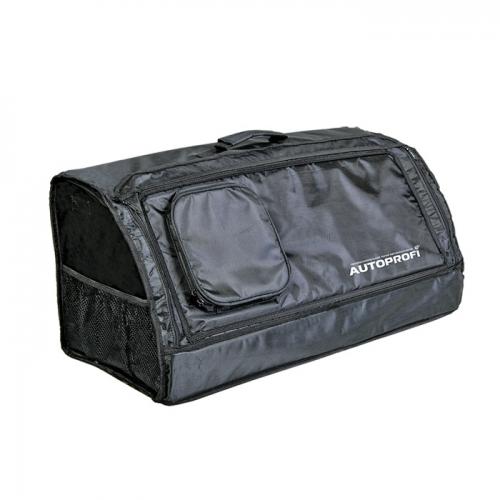 Сумка-органайзер в багажник Autoprofi Travel, брезентовая, цвет: черный. ORG-30 BKORG-30 BKСумка-органайзер в багажник Autoprofi Travel изготовлена из огнеупорного водостойкого брезента. Он устойчив к механическим повреждениям и легко чистится. Натуральные материалы изделия не линяют и химически не активны, поэтому в сумке можно перевозить продукты и даже домашних животных. Органайзер предназначен для хранения и транспортировки в багажнике автомобиля инструментов, средств автохимии и автокосметики, автомобильных аксессуаров и прочей поклажи. Сумка оснащена несколькими отсеками и карманами, поэтому в ней очень удобно и практично перевозить различные предметы, сохраняя в багажном отделении чистоту и порядок. Для удобства переноски сумка имеет ручку. Полосы-липучки, расположенные на тыльной стороне и днище органайзера, не дают ему скользить по поверхности и надежно фиксируют сумку в багажнике. Характеристики: Материал: брезент. Цвет: черный. Размер сумки-органайзера: 70 см х 32 см х 30 см. Размер упаковки: 6 см х 32 см х 70 см. Артикул: ORG-30 BK.