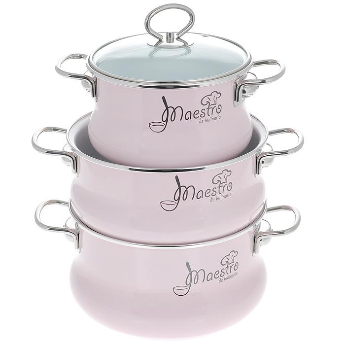 Набор кастрюль Maestro с крышками, цвет: белый, розовый, 6 предметов. 8DT135S набор кастрюль 3 предмета vitross maestro 8dt135s салатовый