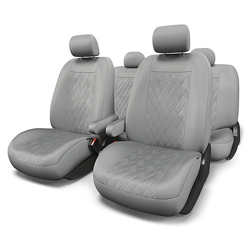 Набор авточехлов Autoprofi Persona, экокожа, цвет: серый, 13 предметов. Размер M. PER-1305G GY (M) чехол на сиденье autoprofi gob 1105 gy line m