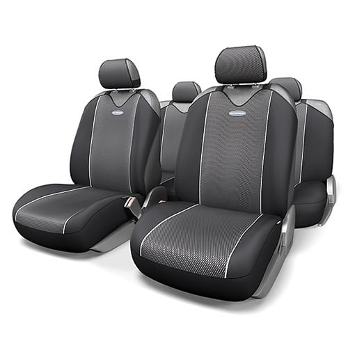 Чехлы-майки Autoprofi Carbon Plus, полиэстер под карбон, цвет: черный, серый, 9 предметов. CRB-902P BK/GYCRB-902P BK/GYМодель авточехлов-маек Autoprofi Carbon Plus, выполненных из полиэстера, отличается полностью закрытой нижней частью сидений, которая добавляет им практичности и износостойкости. При этом чехлы быстро и без усилий надеваются на кресла, не требуя демонтажа подголовников или подлокотников. Эластичный материал позволяет использовать чехлы на сиденьях любого типа. Визуально полиэстер изделий в точности повторяет переливающийся рисунок настоящего карбона и придает чехлам респектабельный вид. Для автомобиля, чей экстерьер или салон оснащены карбоновыми деталями, чехлы Autoprofi Carbon Plus являются наиболее гармоничным дополнением.Комплектация: - 1 сиденье заднего ряда, - 1 спинка заднего ряда, - 2 чехла переднего ряда, - 5 подголовников, - набор фиксирующих крючков.Особенности: Использование с любыми типами сиденийТолщина поролона - 2 ммПолиэстер с рисунком карбон