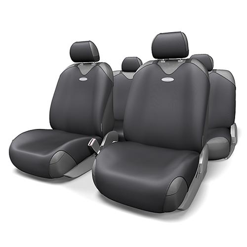 Чехлы-майки на сиденья Autoprofi R-1 Sport, полиэстер, цвет: черный, 9 предметов. R-802 BKR-802 BKЧехлы-майки на сиденья Autoprofi R-1 Sport выполнены из высококачественного полиэстера. Такая форма автомобильных чехлов позволяет без затруднений надевать их на кресла любого типа, не прибегая к демонтажу подголовников и подлокотников. Эластичный полиэстер маек плотно облегает поверхность кресел, не выцветает на солнце и не электризуется. Чехлы-майки на сиденья Autoprofi R-1 Sport выполнены в спортивном стиле, который придает салону яркие и динамичные черты. Широкая гамма расцветок чехлов позволяет подобрать их к любому интерьеру автомобиля. Имеется возможность использования с любыми типами сидений. Комплектация: - 1 сиденье заднего ряда, - 1 спинка заднего ряда, - 2 чехла переднего ряда, - 5 подголовников, - набор фиксирующих крючков.Особенности: Использование с любыми типами сиденийТолщина поролона - 2 мм