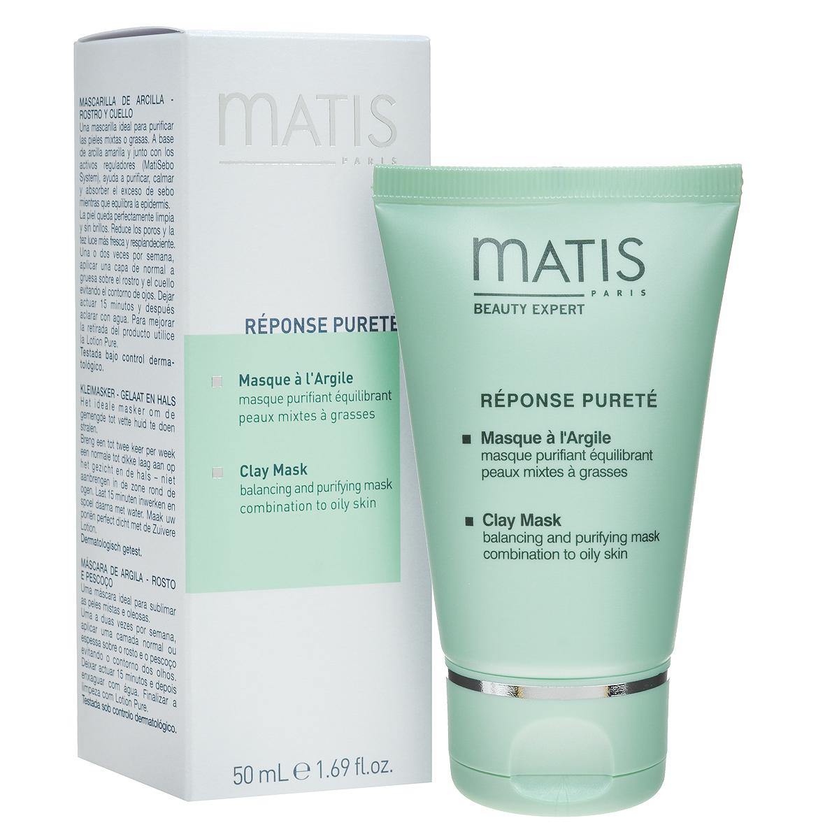 Matis Маска для лица Линия жирной кожи, очищающая, балансирующая, 50 мл36528Кремовая маска с желтой глиной. Регулирует деятельность сальных желез. Тщательно очищает и дезинфицирует кожу. Оказывает успокаивающее и противовоспалительное действие. Глубоко очищает поры, тонизирует кожу, насыщает ее кислородом. Выводит токсины.MatiSebo инновационная система (сочетание особых кислот с экстрактом африканского дерева Энантия Хлоранта), Желтая глина.Нанесите толстым слоем на лицо и шею, избегая области вокруг глаз, на 15 минут. Смойте маску теплой водой, затем протрите кожу ватным диском, пропитанным Лосьоном очищающим для жирной кожи.