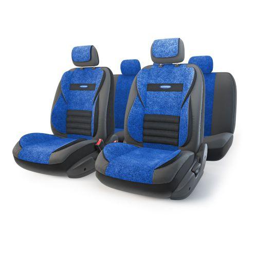 Набор ортопедических авточехлов Autoprofi Multi Comfort, экокожа, цвет: черный, синий, 11 предметов. Размер MMLT-1105GV BK/BL (M)Анатомические чехлы Multi Comfort отличаются объемными вставками, расположенными не только на уровне плеч и поясницы, но и в области бедер. Благодаря своей особой форме, вставки эффективно поддерживают тело водителя и пассажира в движении, снижая усталость от дороги. В чехлы переднего ряда также вшит рельефный поясничный упор. Его выпуклая форма способствует уменьшению нагрузки на межпозвоночные диски и делает более комфортными дальние поездки. Кроме этого, чехлы на подголовники оснащены мягким выступом, который поддерживает голову и снижает давление на затылочную часть.Чехлы изготавливаются из экокожи и текстурированного велюра различных цветов, которые обладают привлекательным внешним видом и не требуют больших усилий при уходе.Основные особенности авточехлов Multi Comfort:- поддержка плечевого пояса; - боковая поддержка спины; - боковая поддержка ног; - ортопедический поясничный упор; - мягкая вставка на подголовнике; - крепление передних спинок липучками; - предустановленные крючки на широких резинках; - 3 молнии в спинке заднего ряда; - 3 молнии в сиденье заднего ряда; - использование с боковыми airbag; - толщина поролона: 5 мм; - карманы в спинках передних сидений. Комплектация: - 1 сиденье заднего ряда; - 1 спинка заднего ряда; - 2 сиденья переднего ряда; - 2 спинки переднего ряда; - 5 подголовников; - набор фиксирующих крючков.