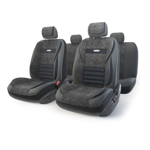 """Набор ортопедических авточехлов Autoprofi """"Multi Comfort"""", экокожа, цвет: черный, 11 предметов. Размер M"""