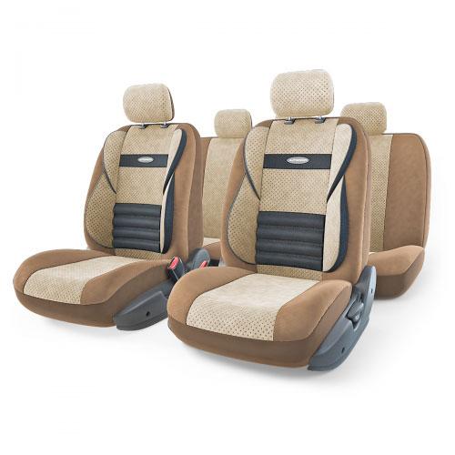 Набор ортопедических авточехлов Autoprofi Comfort Combo, велюр, цвет: темно-бежевый, светло-бежевый, 11 предметов. Размер M. CMB-1105 D.BE/L.BE (M)CMB-1105 D.BE/L.BE (M)Ортопедические авточехлы Comfort Combo оснащены усиленной поддержкой плечевого пояса, которая способствует естественному положению спины при вождении. Объемные боковые вставки чехлов на уровне поясницы поддерживают туловище в поворотах, а рифленый поясничный профиль обеспечивает естественную осанку и снижает нагрузку с межпозвоночных дисков.Чехлы Comfort Combo выполнены из формованного велюра, который сочетает привлекательный внешний вид и хорошие дышащие свойства, позволяющие водителю и пассажирам чувствовать себя комфортно во время движения.Основные особенности авточехлов Comfort Combo:- боковая поддержка спины; - 3 молнии в спинке заднего ряда; - 3 молнии в сиденье заднего ряда; - карманы в спинках передних сидений; - крепление передних спинок липучками; - ортопедический поясничный упор; - поддержка плечевого пояса; - предустановленные крючки на широких резинках;- использование с боковыми airbag;- толщина поролона: 5 мм.Комплектация: - 1 сиденье заднего ряда; - 1 спинка заднего ряда; - 2 сиденья переднего ряда; - 2 спинки переднего ряда; - 5 подголовников; - набор фиксирующих крючков.
