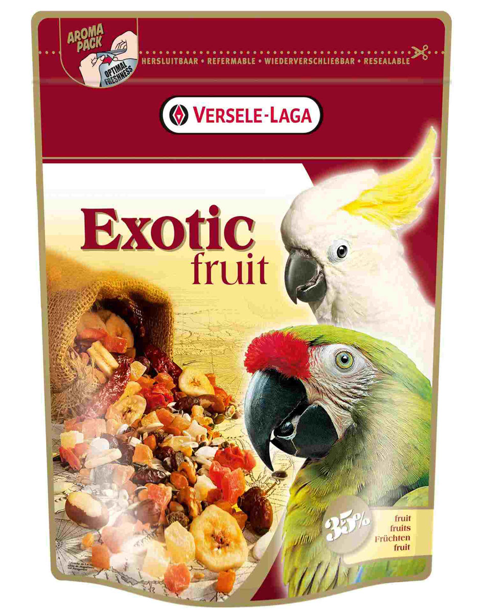 Корм для крупных попугаев Versele-Laga Exotic Fruit, 600 г корм вака люкс для крупных попугаев 800 гр