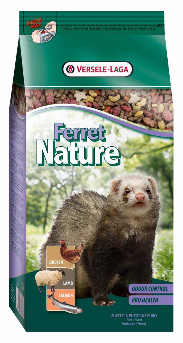 Корм для хорьков Versele-Laga Ferret Nature, 750 г461373Versele-Laga Ferret Nature это полноценный основной корм для хорьков, разработанный в соответствии с их пищевыми потребностями. Это высококачественная смесь природных компонентов, которая содержит все необходимые для организма питательные вещества, витамины, минералы и аминокислоты, необходимые для жизнерадостной и здоровой жизни вашего питомца. Versele-Laga Ferret Nature содержит животные белки и жиры курицы, ягненка и лосося, а также добавки, важные для здоровья: обеспечивает превосходное пищеварение, гигиену полости рта, сияющую шерсть и великолепное здоровье. Широкое разнообразие ингредиентов гарантирует превосходный вкус и усвояемость. Указания к использованиюВ зависимости от размера и возраста хорька рекомендуемая дневная порция в среднем составляет от 50 до 80 грамм. Обеспечивайте вашему питомцу свежий корм и питьевую воду ежедневно. Состав: мясо и продукты животного происхождения, злаки, производные растительного происхождения, масла и жиры, дрожжи, рыба и производные рыбы, яйцо и производные продукты, минералы, фруктоолигосахариды, экстракт юкки.Анализ состава: 35% белки, 18% жиры, 1,5% сырая клетчатка, 7% сырая зола, 1,1% кальций, 0,9% фосфор, 1,5% лизин, 0,8% метионин. Добавки на кг: витамин А 32000 МЕ, витамин D3 1600 МЕ, витамин Е 120 мг, витамин С 25 мг, сульфат меди (II) 10 мг, таурин 1200 мг.Вес: 750 г.