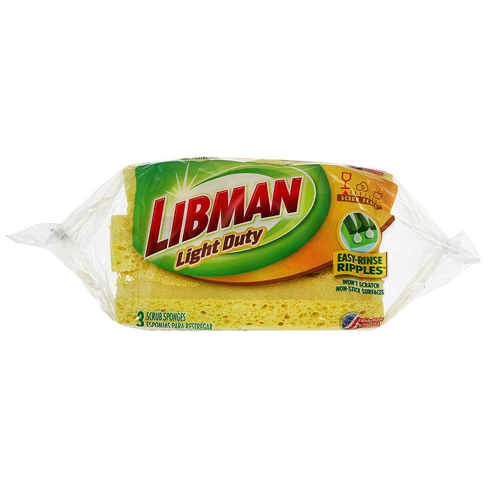Губка для посуды Libman Light, с мягким антибактериальным напылением, цвет: желтый, 3 шт. 10751075Губка для посуды Libman Light изготовлена из натуральной целлюлозы. С обратной стороны имеет вставку из полиэстера с мягким напылением для очистки посуды. Хорошо удерживает мыльный раствор, антибактериальная. Подходит для мытья посуды. Характеристики: Материал: целлюлоза, полиэстер. Комплектация: 3 шт. Цвет: желтый. Размер губки: 7 см х 11,5 см х 2,5 см. Артикул: 1075.