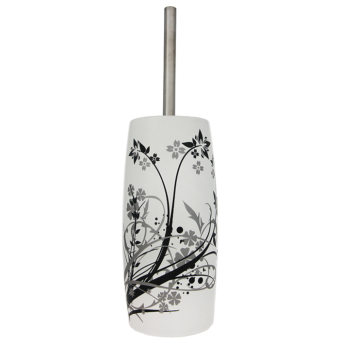 Ерш для унитаза Duschy Aster, с подставкой354-06Ерш для унитаза с подставкой Duschy Aster выполнен из керамики белого цвета, украшенной растительным рисунком черного и серого цветов. Прочная металлическая ручка и жесткий ворс обеспечивают эффективное использование. Подставка под ерш отличается легкостью и компактностью. Такой набор станет достойным дополнением туалетной комнаты. Характеристики:Материал: керамика, металл. Цвет: белый. Размер подставки: 24 см х 10 см х 10 см. Длина ершика: 34 см. Размер упаковки: 26 см х 13 см х 13 см. Артикул: 354-06.