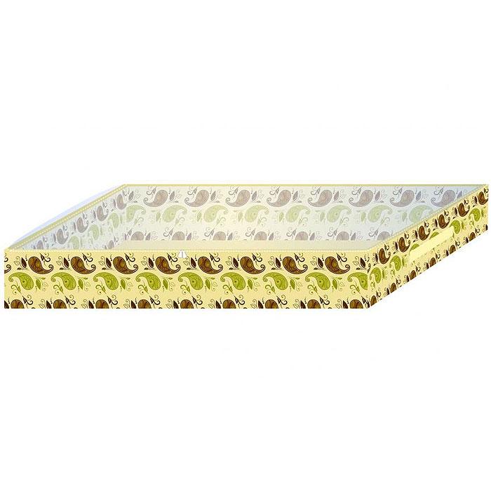 Кофр для хранения одеял и пледов Фэйт, 90 х 44 х 15 см-170200669310Кофр для хранения одеял и пледов Фэйт выполнен из нетканого полотна (вискозы) с фирменным орнаментом. Материал позволяет пропускать внутрь воздух, но не пропускает пыль, грязь и насекомых. Через прозрачную вставку из ПВХ удобно видеть, какая вещь хранится в чехле. Чехол оснащен молнией и предназначен для хранения одеял, покрывал, пледов, подушек, верхней одежды. Характеристики: Материал: вискоза, полиэтилен. Размер чехла: 90 см х 44 см х 15 см. Цвет: желтый. Размер упаковки: 25 см х 25 см х 2 см. Артикул: 1702006.