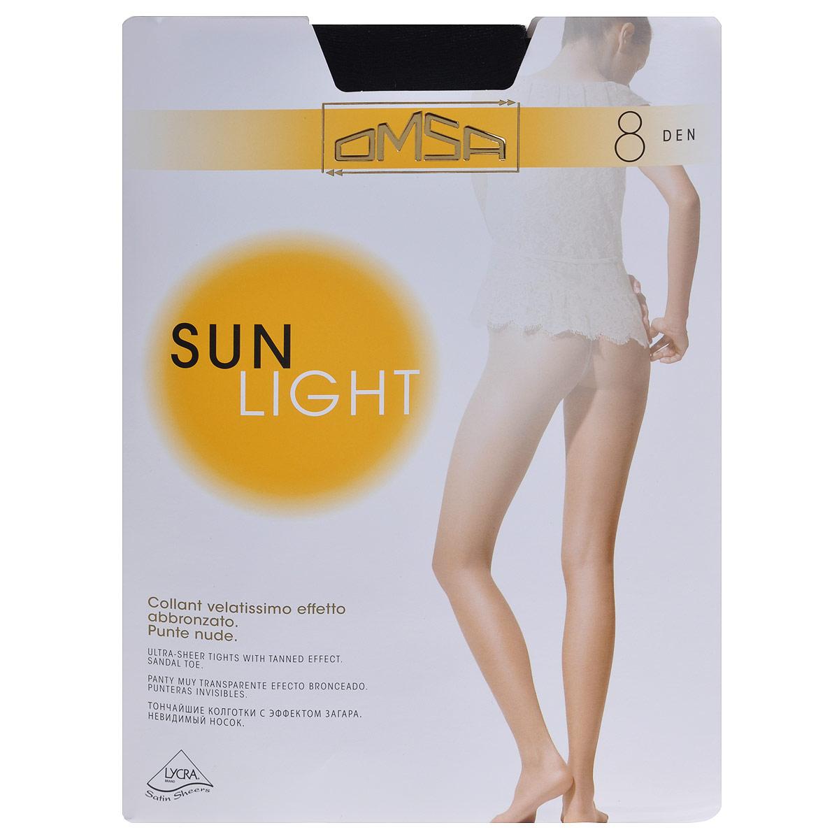 Колготки Omsa Sun Light 8. Nero (черные). Размер 4Sun Light 8_NeroТончайшие колготки с лайкрой, эффект обнаженности, удобная резинка в области талии, абсолютно прозрачный носок.Плотность: 8 ден.