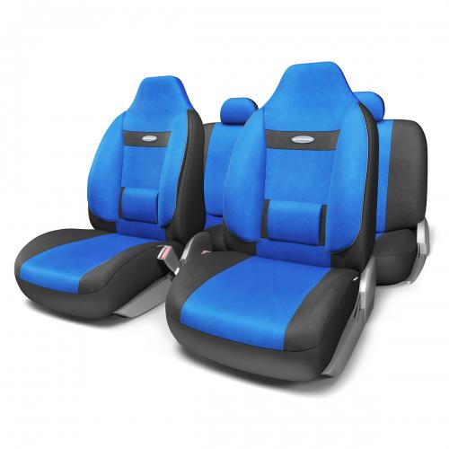 Набор ортопедических авточехлов Autoprofi Comfort, для кресел с литыми подголовниками, велюр, цвет: черный, синий, 11 предметов. Размер MCOM-1105H BK/BL (M)Анатомическое авточехлы Comfort спроектированы специально для автомобильных кресел с литыми подголовниками. Встроенный поясничный упор и боковая поддержка спины чехлов придают передним креслам автомобиля эргономичную форму, за счет чего посадка водителя и пассажира становится более естественной и удобной. В качестве внешнего материала в чехлах Comfort используется жаропрочный велюр, который не электризуется и не выцветает на солнце. Основные особенности авточехлов Comfort:- боковая поддержка спины; - 3 молнии в спинке заднего ряда; - боковая поддержка спины; - карманы в спинках передних сидений; - крепление передних спинок липучками; - литые подголовники; - поясничный упор; - предустановленные крючки на широких резинках;- использование с боковыми airbag;- толщина поролона: 5 мм.Комплектация: - 1 сиденье заднего ряда; - 1 спинка заднего ряда; - 2 сиденья переднего ряда; - 2 спинки переднего ряда; - 3 подголовника; - набор фиксирующих крючков.