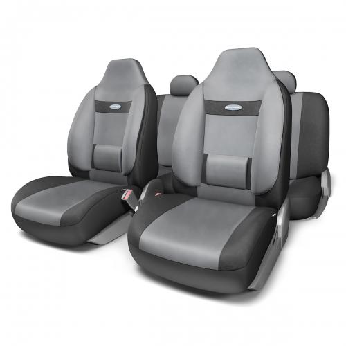 Набор ортопедических авточехлов Autoprofi Comfort, для кресел с литыми подголовниками, велюр, цвет: черный, темно-серый, 11 предметов. Размер M чехол на сиденье autoprofi mtx 1105 bk rd m