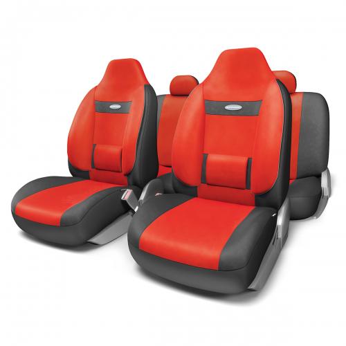 """Набор ортопедических авточехлов Autoprofi """"Comfort"""", для кресел с литыми подголовниками, велюр, цвет: черный, красный, 11 предметов. Размер M"""