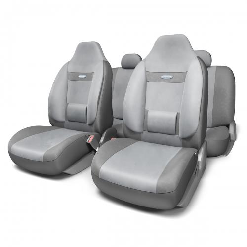 Набор ортопедических авточехлов Autoprofi Comfort, для кресел с литыми подголовниками, велюр, цвет: темно-серый, светло-серый, 11 предметов. Размер MCOM-1105H D.GY/L.GY (M)Анатомическое авточехлы Comfort спроектированы специально для автомобильных кресел с литыми подголовниками. Встроенный поясничный упор и боковая поддержка спины чехлов придают передним креслам автомобиля эргономичную форму, за счет чего посадка водителя и пассажира становится более естественной и удобной. В качестве внешнего материала в чехлах Comfort используется жаропрочный велюр, который не электризуется и не выцветает на солнце. Основные особенности авточехлов Comfort:- боковая поддержка спины; - 3 молнии в спинке заднего ряда; - боковая поддержка спины; - карманы в спинках передних сидений; - крепление передних спинок липучками; - литые подголовники; - поясничный упор; - предустановленные крючки на широких резинках;- использование с боковыми airbag;- толщина поролона: 5 мм.Комплектация: - 1 сиденье заднего ряда; - 1 спинка заднего ряда; - 2 сиденья переднего ряда; - 2 спинки переднего ряда; - 3 подголовника; - набор фиксирующих крючков.