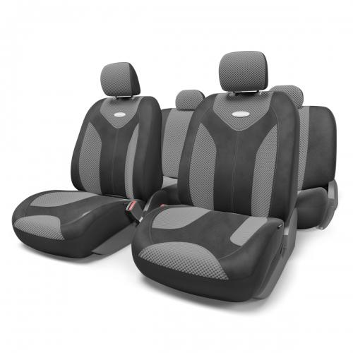 Набор авточехлов Autoprofi Matrix, велюр, цвет: черный, темно-серый, 11 предметов. Размер SMTX-1105 BK/D.GY (S)Яркий и привлекательный дизайн - отличительная черта автомобильных чехлов Matrix. Классические чехлы Matrix изготовлены из формованного велюра, триплированного поролоном. Благодаря этому они обладают хорошими дышащими свойствами и позволяют водителю и пассажирам чувствовать себя комфортно даже во время долгой дороги.Формованный велюр не выцветает на солнце, не электризуется и обладает высокими грязеотталкивающими свойствами. Он придает чехлам запоминающийся вид, преображающий облик салона автомобиля.Основные особенности авточехлов Matrix:- предустановленные крючки на широких резинках; - 3 молнии в спинке заднего ряда; - 3 молнии в сиденье заднего ряда; - карманы в спинках передних сидений; - толщина поролона: 5 мм.Комплектация: - 1 сиденье заднего ряда; - 1 спинка заднего ряда; - 2 сиденья переднего ряда; - 2 спинки переднего ряда; - 5 подголовников; - набор фиксирующих крючков.