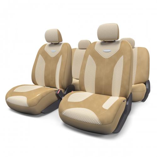 Набор авточехлов Autoprofi Matrix, велюр, цвет: темно-бежевый, светло-бежевый, 11 предметов. Размер МMTX-1105 D.BE/L.BE (M)Яркий и привлекательный дизайн - отличительная черта автомобильных чехлов Matrix. Классические чехлы Matrix изготовлены из формованного велюра, триплированного поролоном. Благодаря этому они обладают хорошими дышащими свойствами и позволяют водителю и пассажирам чувствовать себя комфортно даже во время долгой дороги.Формованный велюр не выцветает на солнце, не электризуется и обладает высокими грязеотталкивающими свойствами. Он придает чехлам запоминающийся вид, преображающий облик салона автомобиля.Основные особенности авточехлов Matrix:- предустановленные крючки на широких резинках; - 3 молнии в спинке заднего ряда; - 3 молнии в сиденье заднего ряда; - карманы в спинках передних сидений; - толщина поролона: 5 мм.Комплектация: - 1 сиденье заднего ряда; - 1 спинка заднего ряда; - 2 сиденья переднего ряда; - 2 спинки переднего ряда; - 5 подголовников; - набор фиксирующих крючков.