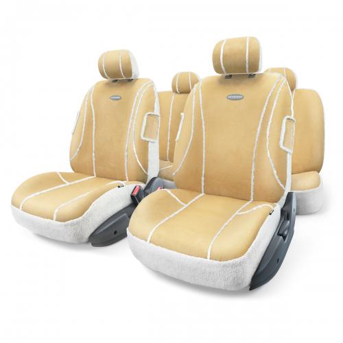 Набор авточехлов Autoprofi Sheep Skin, цвет: бежевый, белый, 9 предметов. Размер MSHP-905 BE/WH (M)Автомобильные чехлы Sheep Skin изготовлены из высококачественных материалов, которые имитируют - как внешне, так и функционально - дубленую овчину. Искусственная овчина органично смотрится в салоне любого автомобиля и очень приятна на ощупь. Зимой она великолепно сохраняет тепло, а летом несет прохладу водителю и пассажирам.Чехлы Sheep Skin сделаны по традиционной - цельной - схеме без разделения на части для спинки и сиденья. Они легко надеваются, снимаются и не боятся стирки.Основные особенности авточехлов Sheep Skin:- 3 молнии в спинке заднего ряда; - толщина поролона: 5 мм; - материал: имитация дубленой овчины. Комплектация: - 1 сиденье заднего ряда; - 1 спинка заднего ряда; - 2 чехла переднего ряда; - 5 подголовников; - набор фиксирующих крючков.