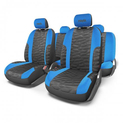 Набор авточехлов Autoprofi Trial, цвет: черный, синий, 11 предметов. Размер M
