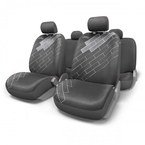 Набор авточехлов Autoprofi Urban, алькантара, цвет: черный, 11 предметов. Размер MURB-1105 BK (M)В качестве материала чехлов используется износостойкая алькантара. Эта легкая и дышащая ткань не садится и не растягивается даже под воздействием влаги. Мягкая и приятная на ощупь, алькантара обладает презентабельным обликом и придает салону автомобиля дорогой и ухоженный вид.Чехлы Urban разработаны специально для автомобильных сидений, которые оборудованы боковыми подушками безопасности, встроенными в спинки передних кресел. Чехлы сидений переднего ряда сбоку оснащены швом, который распускается при срабатывании airbag. Комплектация: - 1 сиденье заднего ряда; - 1 спинка заднего ряда; - 2 спинки переднего ряда; - 2 сиденья переднего ряда; - 5 подголовников;- набор фиксирующих крючков.Особенности: Толщина поролона: 5 мм.Карманы в спинках передних сидений.3 молнии в сиденье заднего ряда.3 молнии в спинке заднего ряда.Предустановленные крючки на широких резинках.Крепление передних спинок липучками.Схема надевания: раздельная.Материал: алькантара.Использование с боковыми airbag.