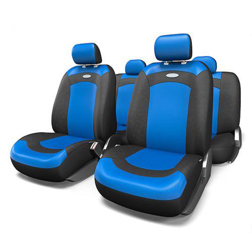 Набор авточехлов Autoprofi Extreme, велюр, цвет: черный, синий, 8 предметов. Размер MXTR-803 BK/BL (M)Модель Extreme сделана по традиционной цельной схеме, без разделения на чехлы для спинки и сиденья. Благодаря этому она является наиболее доступной из серии классических автомобильных чехлов, не уступая в функциональности другим моделям.Чехлы Extreme обладают приятным двухцветным дизайном, который гармонично смотрится с любым автомобильным интерьером. В качестве материалов используются велюр и объемная сетчатая ткань. Ткань способствует улучшенной вентиляции кресел и позволяет сделать комфортными даже дальние поездки.Основные особенности авточехлов Extreme:- 3 молнии в спинке заднего ряда;- использование с боковыми airbag: нет;- толщина поролона: 3 мм.Комплектация: - 1 сиденье заднего ряда; - 1 спинка заднего ряда; - 2 чехла переднего ряда; - 4 подголовника; - набор фиксирующих крючков.