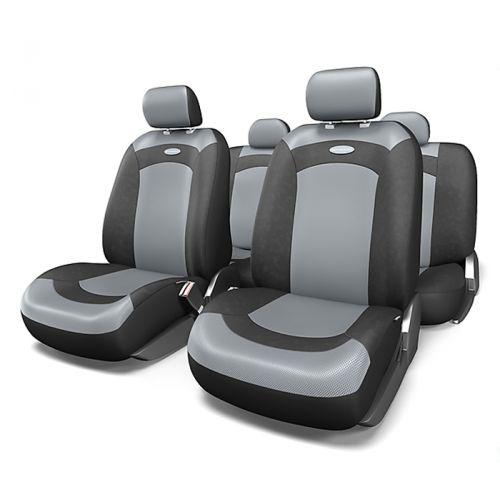 Набор авточехлов Autoprofi Extreme, велюр, цвет: черный, серый, 8 предметов. Размер MXTR-803 BK/GY (M)Модель Extreme сделана по традиционной цельной схеме, без разделения на чехлы для спинки и сиденья. Благодаря этому она является наиболее доступной из серии классических автомобильных чехлов, не уступая в функциональности другим моделям.Чехлы Extreme обладают приятным двухцветным дизайном, который гармонично смотрится с любым автомобильным интерьером. В качестве материалов используются велюр и объемная сетчатая ткань. Ткань способствует улучшенной вентиляции кресел и позволяет сделать комфортными даже дальние поездки.Основные особенности авточехлов Extreme:- 3 молнии в спинке заднего ряда;- использование с боковыми airbag: нет;- толщина поролона: 3 мм.Комплектация: - 1 сиденье заднего ряда; - 1 спинка заднего ряда; - 2 чехла переднего ряда; - 4 подголовника; - набор фиксирующих крючков.