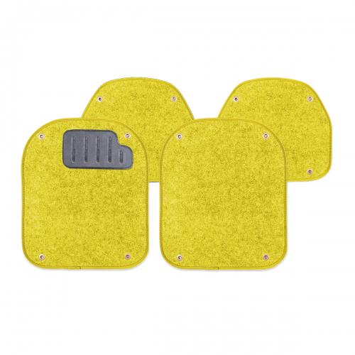 Вкладыши ковролиновые Autoprofi для автомобильных ковриков, цвет: желтый, 4 штPET-500i YEКомплект Autoprofi состоит из 2 вкладышей в автомобильные коврики переднего ряда и 2 вкладышей в автомобильные коврики заднего ряда. Вкладыши изготовлены из уютного и износостойкого ковролина. Они легко пристегиваются и снимаются. Надежное крепление гарантируют четыре металлические кнопки. Имеется опора для ног водителя из термопласта, которая обеспечивает комфортное управление автомобилем. Вкладыши устойчивы к влаге, грязи и УФ-лучам. Характеристики: Материал: ковролин, термопласт. Цвет: желтый. Размер вкладыша для ковриков переднего ряда: 4 см х 4,8 см. Размер вкладыша для ковриков заднего ряда: 4 см х 3,6 см. Артикул: PET-500i YE.