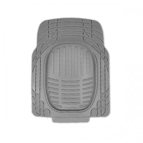 Коврики автомобильные Автопрофи / Autoprofi Transform, термопласт, цвет: серый, 77 см х 57 см, 2 штTER-001 GYКомплект универсальных ковриков для переднего ряда Автопрофи / Autoprofi Transform отличаются лаконичным, но в то же время функциональным дизайном. Наличие множества насечек на поверхности ковриков позволяет с помощью ножниц корректировать размер и форму изделий, адаптируя их под салон автомобиля. Коврики изготовлены из термопласта-эластомера, сохраняющего эластичность даже при экстремально низких температурах - до -50 °С. Легкий и износостойкий материал изделий устойчив к воздействию агрессивных веществ, таких как масло, топливо или дорожные реагенты, и не обладает характерным запахом резины. Характеристики:Материал: термопласт-эластомер. Размер 1 коврика: 770 мм х 570 мм. Комплектация: 2 шт. Температура использования: от -50 до +50 °С. Артикул: TER-001 GY.
