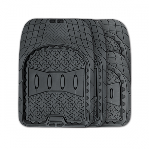 Коврики автомобильные Autoprofi Ranger, универсальные, вырезаемые, цвет: черный, 4 предметаTER-520 BKУниверсальные автомобильные коврики Autoprofi Ranger изготовлены из легкого, но износостойкого термопласта-эластомера, который отличается отсутствием характерного для резины запаха. Инновационный материал сохраняет свою эластичность даже при экстремально низких температурах до -50°С и устойчив к воздействию агрессивных веществ, таких как масло, топливо или дорожные реагенты. Рисунок ковриков обладает не только привлекательным внешним видом, но и особой функциональностью. Разветвленная сеть насечек для разреза на поверхности помогает придать коврикам форму, точно соответствующую днищу салона. Тыльная сторона ковриков снабжена небольшими выступами-шипами, благодаря которым коврики не скользят под ногами и плотно лежат на поверхности пола, защищая его от грязи и влаги. Характеристики: Материал: термопласт-эластомер. Цвет: черный. Комплектация: 4 шт. Температура использования: от -50°С до +50°С. Размер переднего коврика: 74 см х 52 см. Размер заднего коврика: 50 см х 52 см. Размер упаковки: 45 см х 5 см х 46 см. Артикул: TER-520 BK.