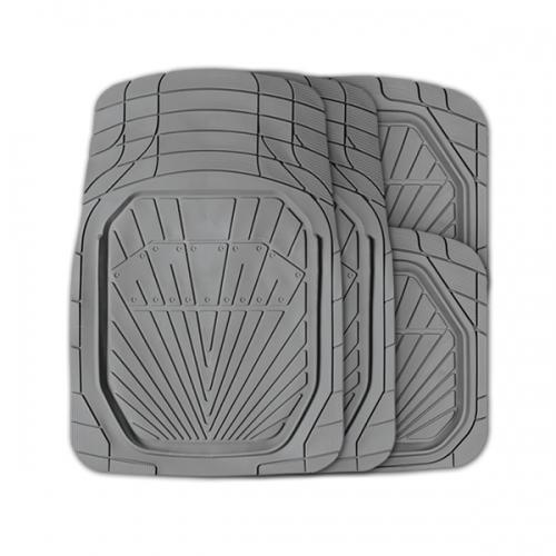 Коврики автомобильные Autoprofi Power, универсальные, вырезаемые, цвет: серый, 4 предметаTER-510 GYУниверсальные автомобильные коврики Autoprofi Power изготовлены из термопласта-эластомера с высокими фрикционными качествами, благодаря чему изделия не скользят под ногами и плотно лежат на поверхности пола, защищая его от грязи и влаги. Термопласт-эластомер отличается небольшим весом, отсутствием характерного для резины запаха и высокой износостойкостью. Материал сохраняет свою эластичность даже при экстремально низких температурах до -50°С и устойчив к воздействию агрессивных веществ, таких как масло, топливо или дорожные реагенты. Комплект ковриков можно использовать в большинстве современных легковых автомобилей. Широкая универсальность обусловлена специальным рисунком ковриков-трансформов. На их поверхности имеется разветвленная сеть насечек для разреза, которая позволяет придать коврикам форму, точно соответствующую днищу салона. Характеристики: Материал: термопласт-эластомер. Цвет: серый. Комплектация: 4 шт. Температура использования: от -50°С до +50°С. Размер переднего коврика: 79 см х 51,5 см. Размер заднего коврика: 47 см х 50 см. Размер упаковки: 45 см х 5 см х 46 см. Артикул: TER-510 GY.