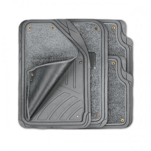 Коврики автомобильные Autoprofi Focus 2, универсальные, морозостойкие, цвет: серый, 4 предметаTER-420 GYКоврики Autoprofi Focus 2 оснащены слоем мягкого и привлекательного ковролина, который придает салону автомобиля уют и комфорт. При необходимости ковролин можно легко отстегнуть, почистить и высушить. В качестве основы ковриков используется термопласт-эластомер, который сохраняет свою эластичность при очень низких температурах - до -50°С. Материал характеризуется небольшим весом, отсутствием типичного для резины запаха и высокой износостойкостью. Насечки для разреза на поверхности ковриков помогают корректировать размер и форму изделий, адаптируя их под профиль днища. Благодаря этому и высоким фрикционным качествам термопласта-эластомера коврики не скользят под ногами и плотно лежат на поверхности пола, защищая его от грязи и влаги. Характеристики: Материал: термопласт-эластомер. Цвет: серый. Комплектация: 4 шт. Температура использования ковриков: от -50°С до +50°С. Размер переднего коврика: 72 см х 50 см. Размер заднего коврика: 50 см х 55 см. Артикул: TER-420 GY.