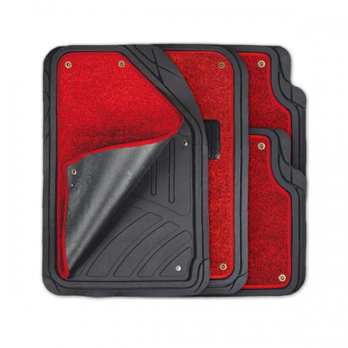 Коврики автомобильные Autoprofi Focus 2, универсальные, морозостойкие, цвет: черный, красный, 4 предметаTER-420 BK/RDКоврики Autoprofi Focus 2 оснащены слоем мягкого и привлекательного ковролина, который придает салону автомобиля уют и комфорт. При необходимости ковролин можно легко отстегнуть, почистить и высушить. В качестве основы ковриков используется термопласт-эластомер, который сохраняет свою эластичность при очень низких температурах - до -50°С. Материал характеризуется небольшим весом, отсутствием типичного для резины запаха и высокой износостойкостью. Насечки для разреза на поверхности ковриков помогают корректировать размер и форму изделий, адаптируя их под профиль днища. Благодаря этому и высоким фрикционным качествам термопласта-эластомера коврики не скользят под ногами и плотно лежат на поверхности пола, защищая его от грязи и влаги. Характеристики: Материал: термопласт-эластомер. Цвет: черный, красный. Комплектация: 4 шт. Температура использования ковриков: от -50°С до +50°С. Размер переднего коврика: 72 см х 50 см. Размер заднего коврика: 50 см х 55 см. Артикул: TER-420 BK/RD.
