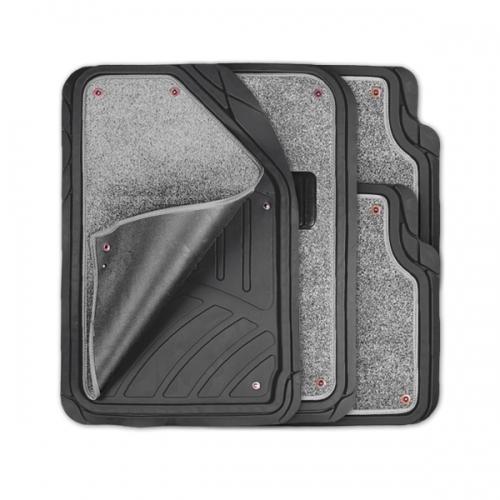 Коврики автомобильные Autoprofi Focus 2, универсальные, морозостойкие, цвет: черный, серый, 4 предметаTER-420 BK/GYКоврики Autoprofi Focus 2 оснащены слоем мягкого и привлекательного ковролина, который придает салону автомобиля уют и комфорт. При необходимости ковролин можно легко отстегнуть, почистить и высушить. В качестве основы ковриков используется термопласт-эластомер, который сохраняет свою эластичность при очень низких температурах - до -50°С. Материал характеризуется небольшим весом, отсутствием типичного для резины запаха и высокой износостойкостью. Насечки для разреза на поверхности ковриков помогают корректировать размер и форму изделий, адаптируя их под профиль днища. Благодаря этому и высоким фрикционным качествам термопласта-эластомера коврики не скользят под ногами и плотно лежат на поверхности пола, защищая его от грязи и влаги. Характеристики: Материал: термопласт-эластомер. Цвет: черный, серый. Комплектация: 4 шт. Температура использования ковриков: от -50°С до +50°С. Размер переднего коврика: 72 см х 50 см. Размер заднего коврика: 50 см х 55 см. Артикул: TER-420 BK/GY.