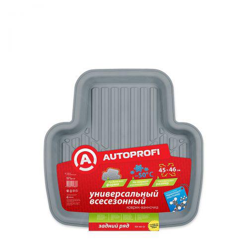 Коврик автомобильный Автопрофи / Autoprofi, универсальный, термопласт-эластомер, цвет: серыйTER-160r GYАвтомобильный коврик Автопрофи / Autoprofi - наиболее универсальная модель коврика-ванночки для заднего ряда. Т-образная форма и оптимальный размер изделия позволяют укладывать коврик между полозьями передних сидений, благодаря чему изделие эффективно защищает от влаги и грязи салон автомобиля. Коврик изготовлен из термопласта-эластомера и предназначен для всесезонного использования. Инновационный материал изделия сохраняет эластичность даже при сильных морозах и обладает устойчивостью к агрессивным средам, таким как масло, топливо и дорожные реагенты. Характеристики:Материал: термопласт-эластомер. Размер коврика: 450 мм х 460 мм. Температура использования: от -50 до +50 °С. Артикул: TER-160r GY.