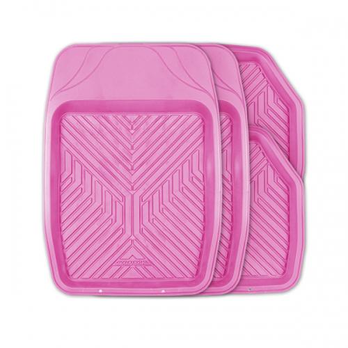 Коврики автомобильные Autoprofi Groove, универсальные, цвет: розовый, 4 предметаTER-150 PINKУниверсальные автомобильные коврики Autoprofi Groove изготовлены из термопласта-эластомера, который отличается небольшим весом, отсутствием характерного для резины запаха и высокой износостойкостью. Инновационный материал сохраняет свою эластичность даже при экстремально низких температурах до -50°С и устойчив к воздействию агрессивных веществ, таких как масло, топливо или дорожные реагенты. Насечки для разреза на передних ковриках позволяют придать им различную форму и подогнать под нужный профиль днища, надежно изолировав его от грязи и влаги. Высокие фрикционные свойства материала ковриков не дают им скользить по салону и под ногами водителя и пассажира. Характеристики: Материал: термопласт-эластомер. Цвет: розовый. Комплектация: 4 шт. Температура использования: от -50°С до +50°С. Размер переднего коврика: 69 см х 48 см. Размер заднего коврика: 48 см х 48 см. Размер упаковки: 5 см х 69 см х 48 см. Артикул: TER-150 PINK.