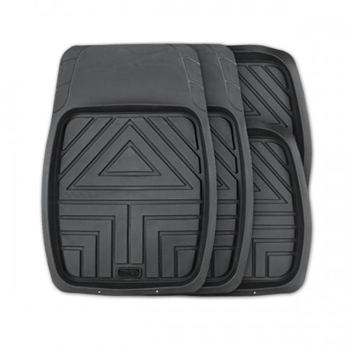 Коврики автомобильные Autoprofi Arrow, универсальные, цвет: черный, 4 предметаTER-110 BKКомплект универсальных ковриков-ванночек Autoprofi Arrow с рисунком в виде стрелы гармонично смотрится в салоне любого автомобиля. Насечки для разреза передних ковриков позволяют придать им форму, соответствующую выемкам днища. Благодаря этому они плотно прилегают к полу, защищая его от грязи и влаги.Коврики изготавливаются из термопласта-эластомера, который отличается небольшим весом, отсутствием характерного для резины запаха и сохраняет эластичность при экстремально низких температурах - до -50°С. Материал устойчив к износу и воздействию агрессивных веществ - масла, топлива, дорожных реагентов, а также обладает высокими фрикционными свойствами. Они не позволяют коврикам скользить по салону и под ногами водителя и пассажира. Характеристики: Материал: термопласт-эластомер. Цвет: черный. Комплектация: 4 шт. Температура использования ковриков: от -50°С до +50°С. Размер переднего коврика: 70 см х 49 см. Размер заднего коврика: 49 см х 47 см. Артикул: TER-110 BK.