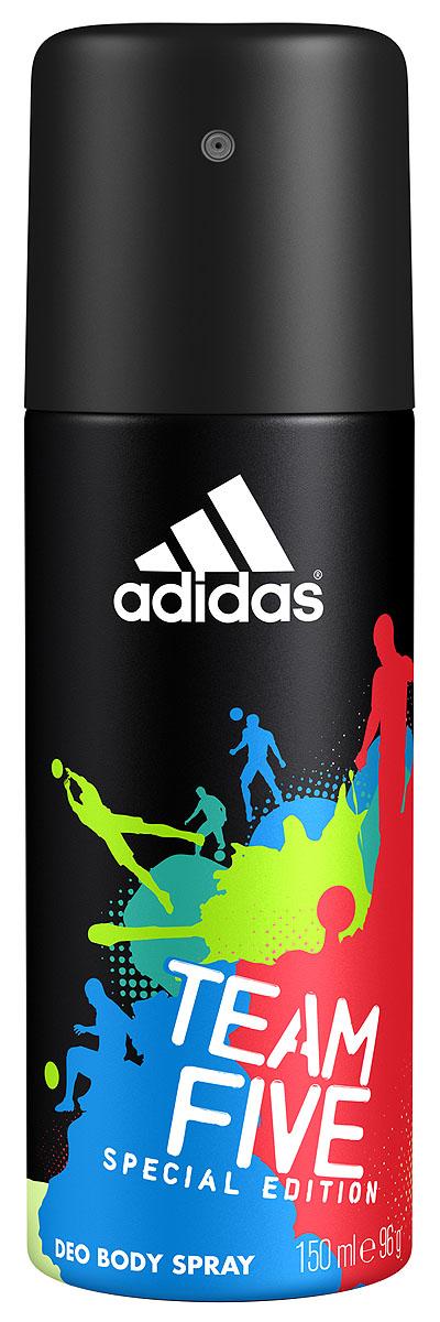 Adidas Дезодорант-спрей Team Five, мужской, 150 мл3400039281Линейка продуктов Team Five отражает основные качества настоящих игроков: стремление к победе, силу воли, горячее желание сделать свою жизнь лучше и играть в ней ключевую роль по своим правилам. Дезодорант-спрей Adidas Team Five насыщен динамичным звучанием, балансирующим на грани между чувственностью и свежестью. Он наделен множеством оттенков, подчеркивает уверенность в своих силах, силу и энергию молодости, шарм и элегантность. Характеристики:Объем: 50 мл. Производитель: Польша. Товар сертифицирован.