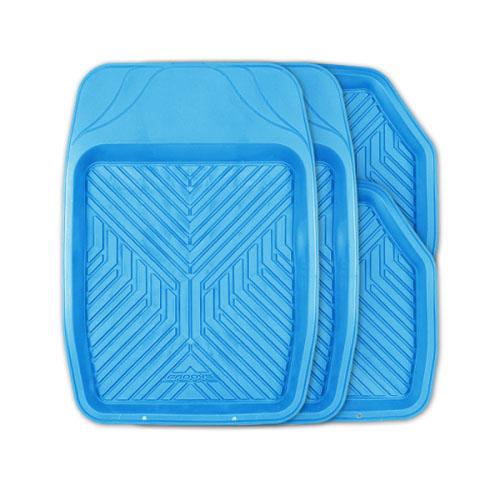 Коврики автомобильные Autoprofi Groove, универсальные, цвет: голубой, 4 предметаTER-150 SKYУниверсальные автомобильные коврики Autoprofi Groove изготовлены из термопласта-эластомера, который отличается небольшим весом, отсутствием характерного для резины запаха и высокой износостойкостью. Инновационный материал сохраняет свою эластичность даже при экстремально низких температурах до -50°С и устойчив к воздействию агрессивных веществ, таких как масло, топливо или дорожные реагенты. Насечки для разреза на передних ковриках позволяют придать им различную форму и подогнать под нужный профиль днища, надежно изолировав его от грязи и влаги. Высокие фрикционные свойства материала ковриков не дают им скользить по салону и под ногами водителя и пассажира. Характеристики: Материал: термопласт-эластомер. Цвет: голубой. Комплектация: 4 шт. Температура использования: от -50°С до +50°С. Размер переднего коврика: 69 см х 48 см. Размер заднего коврика: 48 см х 48 см. Размер упаковки: 5 см х 69 см х 48 см. Артикул: TER-150 SKY.