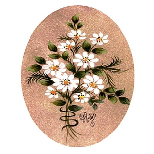 """Трансфер универсальный """"Белые цветы в овале"""", 17 см х 25 см. G-03, Cadence"""
