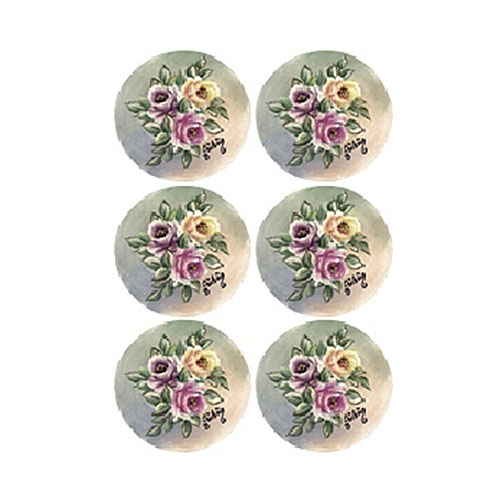 """Трансфер по ткани """"Букетики роз с листочками в круге"""", 17 х 25 см KT-107, Cadence"""