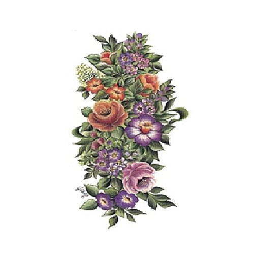 """Трансфер по ткани """"Пестрый букет с розами"""", 17 х 25 см KT-90, Cadence"""