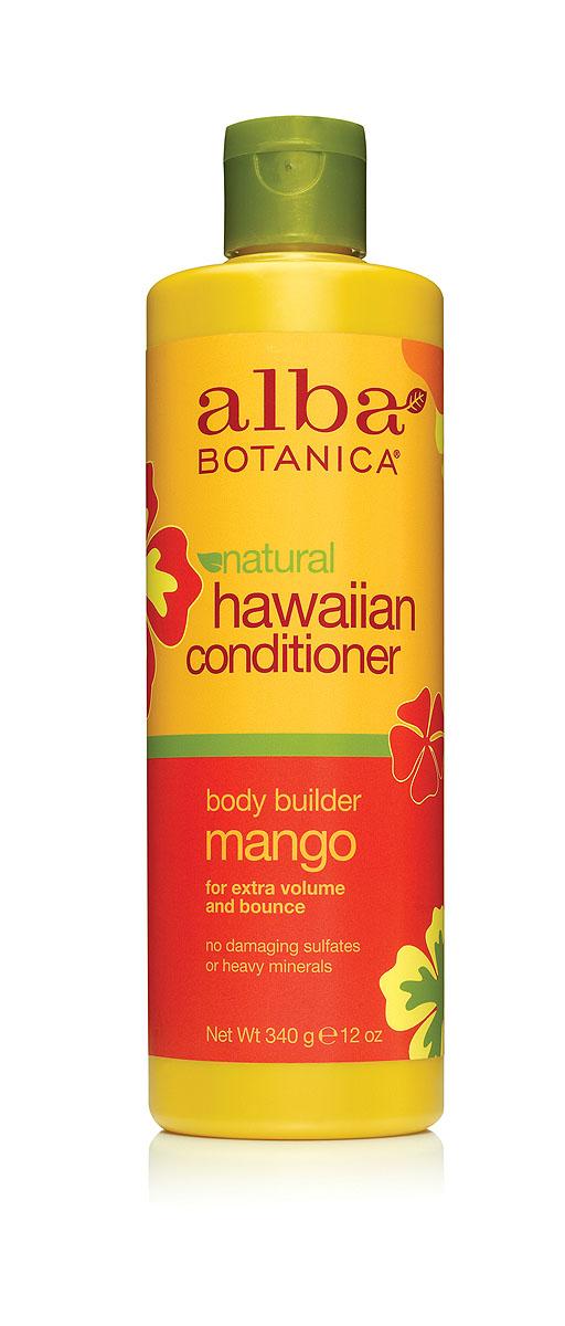 Alba Botanica Гавайский кондиционер Body Builder Mango, с манго, 340 гAL00858Кондиционер Alba Botanica Body Builder Mango рекомендуется для всех типов волос, особенно нуждающихся в дополнительном объеме. Содержит тропические масла, которые восстанавливают защитный водно-липидный барьер кожи и кератиновый слой волос. Является мощным источником защиты от повреждения свободными радикалами, содержит незаменимые полиненасыщенные кислоты, снимающими раздражение кожи головы, обеспечивая длительный комфорт и восстановление сухих, ломких, поврежденных волос. Хорошо гидратирует, смягчает, устраняет эффект электричества и облегчает расчесывание. Характеристики:Вес: 340 г. Артикул: AL00858. Производитель: США. Товар сертифицирован.Состав: вода, цетеарил алкохол, глицерин, бегентримониум хлорид, цетил алкохол, масло подсолнечника, масло кукуи, масло макадамия, масло ослинника, масло бабассу, масло жожоба, сок алое вера, экстракт ананаса, экстракт папайи, экстракт манго, экстракт имбиря, лимонная кислота, глицерил стеарат, гликопротеины, гидролизированные протеины сои, гидролизат миндального масла с тмином, линолевая кислота, линоленова кислота, пантенол, ретинол пальмитат, натрия хлорид, натрия цитрат, натрия коко-сульфат, натрия лаурилглюкозид, натрия сульфат, потасиум сорбат, натрия бензоат, лимонене.