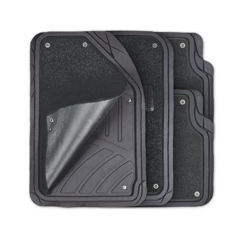 Коврики автомобильные Autoprofi Focus 2, универсальные, морозостойкие, цвет: черный, 4 предметаTER-420 BKКоврики Autoprofi Focus 2 оснащены слоем мягкого и привлекательного ковролина, который придает салону автомобиля уют и комфорт. При необходимости ковролин можно легко отстегнуть, почистить и высушить. В качестве основы ковриков используется термопласт-эластомер, который сохраняет свою эластичность при очень низких температурах - до -50°С. Материал характеризуется небольшим весом, отсутствием типичного для резины запаха и высокой износостойкостью. Насечки для разреза на поверхности ковриков помогают корректировать размер и форму изделий, адаптируя их под профиль днища. Благодаря этому и высоким фрикционным качествам термопласта-эластомера коврики не скользят под ногами и плотно лежат на поверхности пола, защищая его от грязи и влаги. Характеристики: Материал: термопласт-эластомер. Цвет: черный. Комплектация: 4 шт. Температура использования ковриков: от -50°С до +50°С. Размер переднего коврика: 72 см х 50 см. Размер заднего коврика: 50 см х 55 см. Артикул: TER-420 BK.