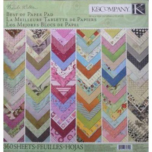 Набор бумаги для скрапбукинга K&Company Brenda Walton, 31 см х 31 см, 360 листов набор бумаги с вырубкой k&company цветы сад 32 х 12 см 138 шт