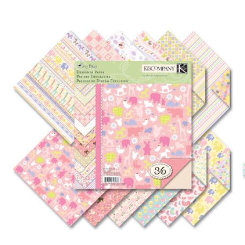 "Набор бумаги для скрапбукинга K&Company ""Для девочки"", 21,5 х 21,5 см, 36 листов"